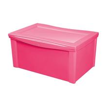 Caixa Organizadora Plástico Rosa 63,5x42,5x30,7cm 65L Ordene