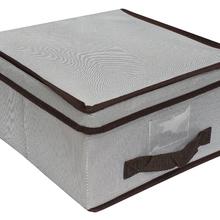 Caixa Organizadora Tecido Cinza  com Alça 16x30x30cm Spaceo