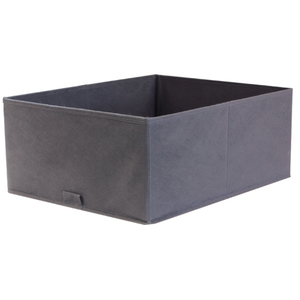 Caixa Organizadora Tecido Cinza Escuro sem Alça 18x35x44cm Spaceo