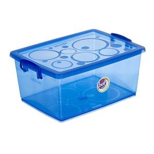 Caixa Organizadora Plástico 15L Azul com Tampa 18,91x44,10x29,70cm Bel Ordene