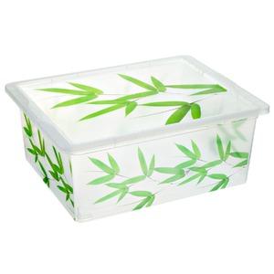 Caixa Organizadora Plástico 17L Bambu com Tampa 16,20x32,50x42cm Decorativa São Bernardo