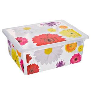 Caixa Organizadora Plástico 17L Colorida com Tampa 16,20x32,50x42cm Decorativa São Bernardo