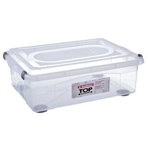 Caixa Organizadora Plástico 28,2L Incolor com Tampa 21,10x38,50x56,40cm Top Stock Sanremo