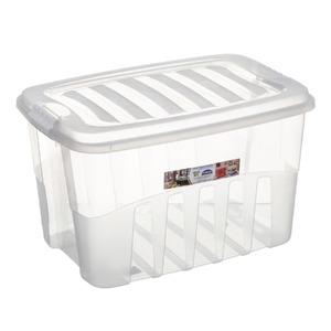 Caixa Organizadora Plástico 29L Incolor com Tampa 28x32,60x45,70cm Organização Plasútil