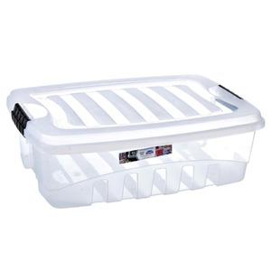 Caixa Organizadora Plástico 38L Incolor com Tampa 19,80x45,30x63,50cm Organização Plasútil