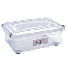 Caixa Organizadora Plástico 42L Incolor com Tampa 24,50x44,50x65cm Top Stock Sanremo