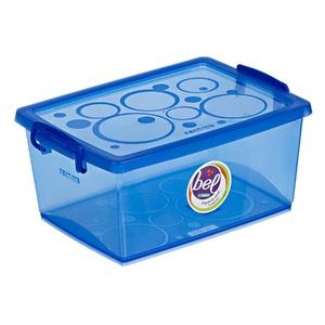 Caixa Organizadora Plástico 4L Azul com Tampa 12,57x26,90x19,10cm Bel Ordene