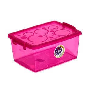 Caixa Organizadora Plástico 4L Rosa com Tampa 12,57x26,90x19,10cm Bel Ordene