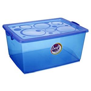 Caixa Organizadora Plástico 60L Azul com Tampa 31,08x65,90x47,60cm Bel Ordene
