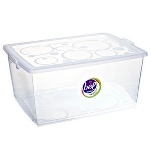 Caixa Organizadora Plástico 60L Incolor com Tampa 31,08x65,90x47,60cm Bel Ordene
