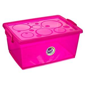 Caixa Organizadora Plástico 60L Rosa com Tampa 31,08x65,90x47,60cm Bel Ordene