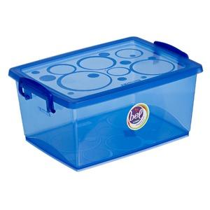 Caixa Organizadora Plástico 7,5L Azul com Tampa 16,02x33,50x24,07cm Bel Ordene