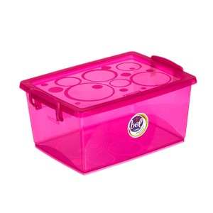 Caixa Organizadora Plástico 7,5L Rosa com Tampa 16,02x33,50x24,07cm Bel Ordene
