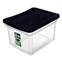 Caixa Organizadora Plástico 8,82L Cristal e Preto com Tampa 28x48,0x35cm Office Line Ordene