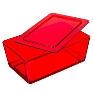 Caixa Organizadora Plástico Vermelho com Tampa 11x17,50x27,80cm Retrô