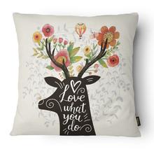Capa de Almofada Alce Love Rosa 43cx43cm