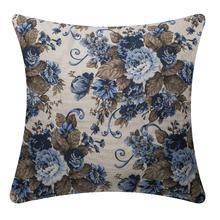 Capa de Almofada Linho Floral Azul 45x45cm