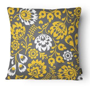 Capa de Almofada Veludo Floral Amarela 43x43cm