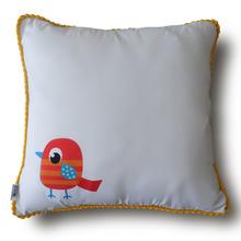 Capa pássaro Pompom 45x45cm Amarelo