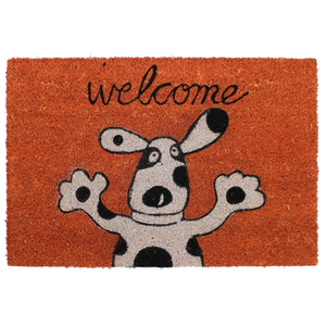 Capacho Dog Welcome Laranja 40x60cm