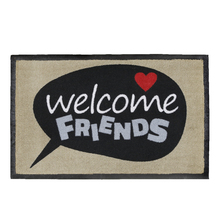 Capacho Luxo Welcome Friends Bege e Preto 45x75cm