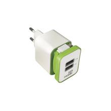 Carregador Turbo USB 2 Saídas 2,1A com Cabo USB Branco e Verde Easy Mobile