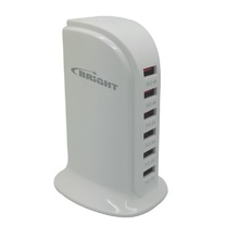 Carregador USB 6 Saídas 5V-3,5V Branco Bright