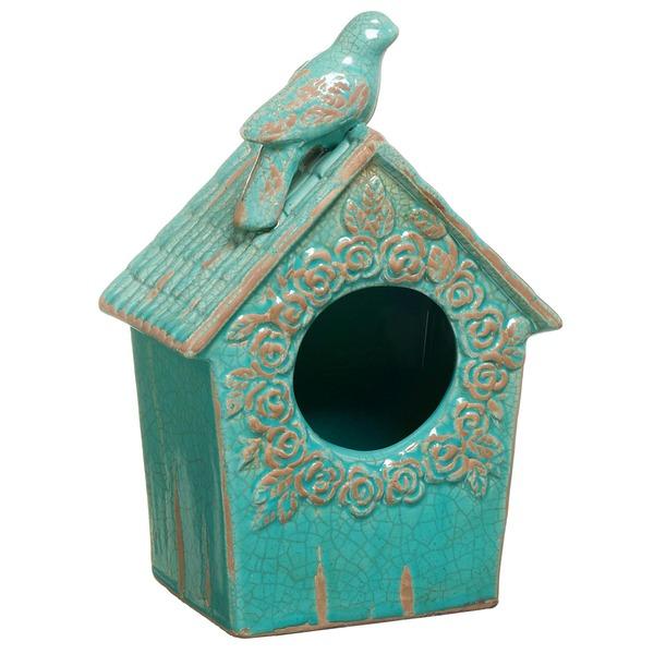 Casa de p ssaro cer mica 25cm turquesa leroy merlin - Ceramica leroy merlin ...