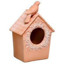 Casa de Pássaro Cerâmica 25x18cm Terracota Cerâmica Novo Tempo