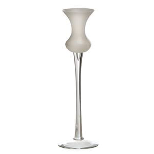 Castiçal de Vidro Branco 29cm