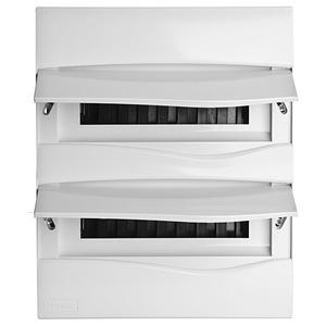 Centro de Distribuição Embutir Termoplástico 2 Portas Branca Opaca p/24 Disjuntores 302x373x70mm Eletromar