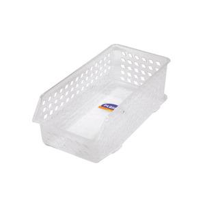 Cesta Organizadora de Plástico Pequena Incolor sem Tampa Comprimento 27,8 cm Largura 14,6 cm Altura 6,3 cm Plasutil