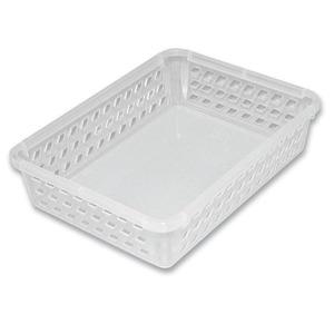 Cesta Organizadora de Plástico Pequena Incolor sem Tampa Comprimento 33,5 cm Largura 25 cm Altura 6,3 cm Plasutil