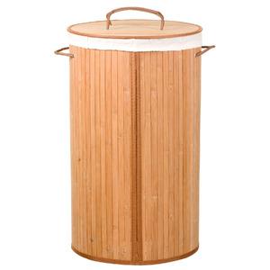 Cesto de roupas bamb natural com al a 60x35cm importado - Canas de bambu decorativas leroy merlin ...