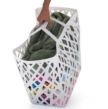 Cesto de Roupa Plástico Branco com Alça 56x32x46cm Arthi