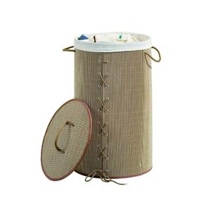 Cesto de Roupas em Bambú Natural Redondo 60x35cm