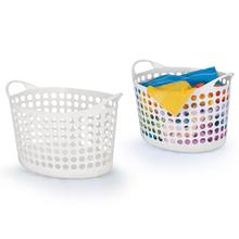 Cesto de Roupas Plástico Branco com Alça 30x36,5x54cm Flex Arthi