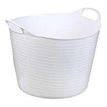Cesto de Roupas Plástico Branco com Alça 38x31x38cm  Arthi