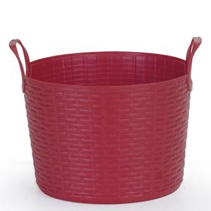 Cesto de Roupas Plástico Vermelho com Alça 16,5x19,5x19,5cm Flex Arthi