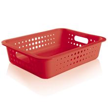 Cesto Organizador  Plástico Vermelho 8,8L 10x41x31cm Organize Martiplast