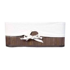 Cesto Organizador Fibra Natural e Branco sem Alça 14x33x22cm Nature Importado