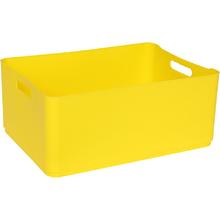 Cesto Organizador Plástico Amarelo 15x27x37,5cm 12,5L Spaceo