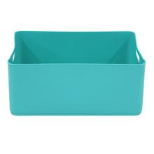 Cesto Organizador Plástico Azul Turquesa 15x27x37,5cm 12,5L Spaceo