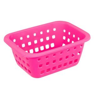 Cesto Organizador Plástico 1,4L Rosa sem Tampa 8,30x14,80x20,30cm Radical Pink Ordene