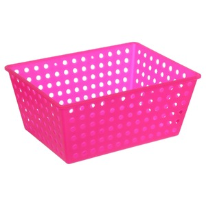 Cesto Organizador Plástico 13L Rosa sem Tampa 16,50x29,30x38cm Organize Brinox