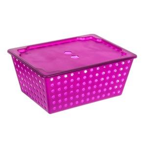 Cesto Organizador Plástico 13L Roxo com Tampa 16,50x29,30x38cm Organize Brinox