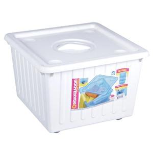 Cesto Organizador Plástico 32L Branco com Tampa 28x40x40cm Organização Arthi