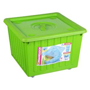 Cesto Organizador Plástico 32L Verde com Tampa 28x40x40cm Organização Arthi