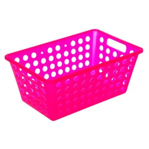 Cesto Organizador Plástico 4,8L Rosa sem Tampa 12x19x28,70cm Organize Brinox