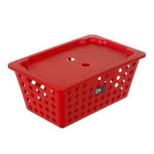 Cesto Organizador Plástico 4,8L Vermelho com Tampa 12x19x28,70cm Organize Brinox